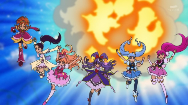 Cure Bloom, Cure Egret, Cure Miracle, Cure Magical, Cure Princess & Cure Lovely