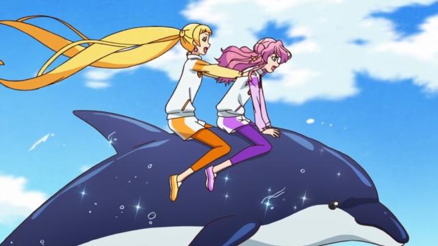 Honey Cat on a dolphin