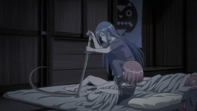 Yuki stabs a snake