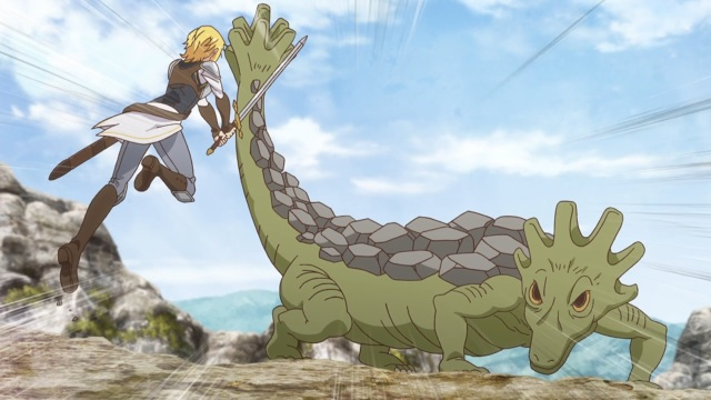 Mavis attacks a rock lizard