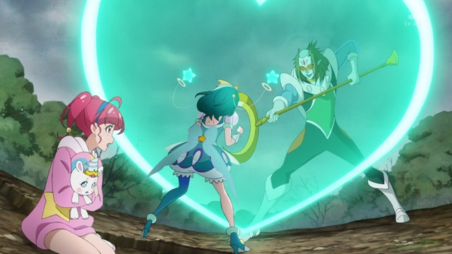 Cure Milky protects Hikaru