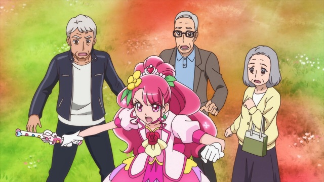Grace protects Tetsuya, Hideo and Fumi