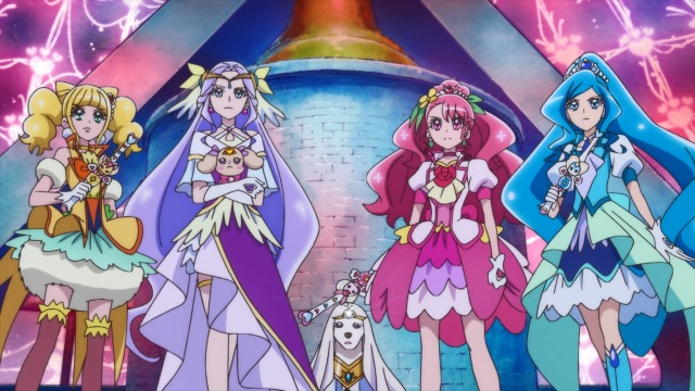 Cure Sparkle, Cure Earth, Cure Grace and Cure Fontaine
